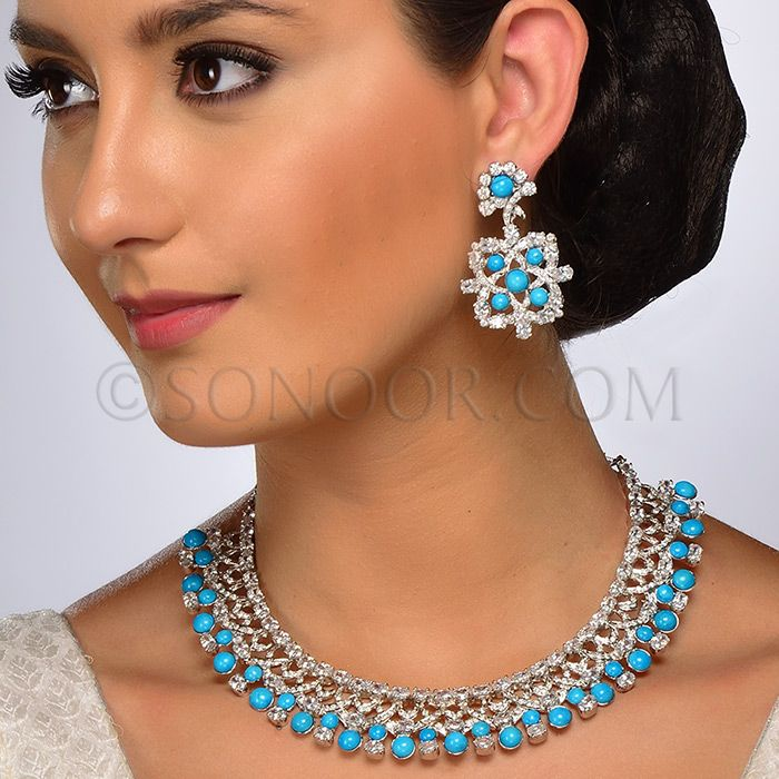 NEC/1/3730 Necklace Set with Earrings in silver victorian finish studded with cubic zircons, begets and turquoise