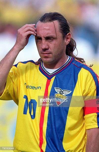 Football 2002 World Cup Qualifier South American CONMEBOL Group 24th April 2001 Quito Ecuador 2 v Paraguay 1 Ecuador's captain Alex Aguinaga