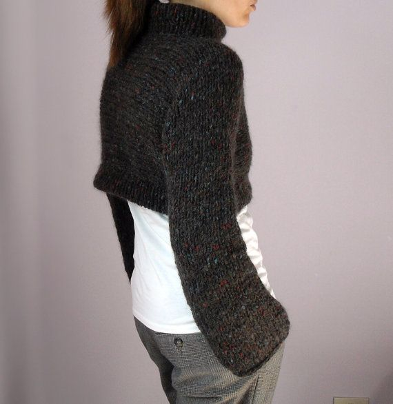 Knitted Sweater Cropped Turtleneck Handmade with long by Silvia66, $126.00