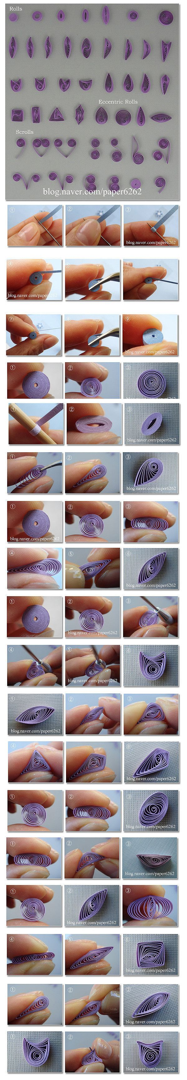 quilling tutorial - pics demonstrating different kinds of techniques ... a great resource  quick reference  for beginners !