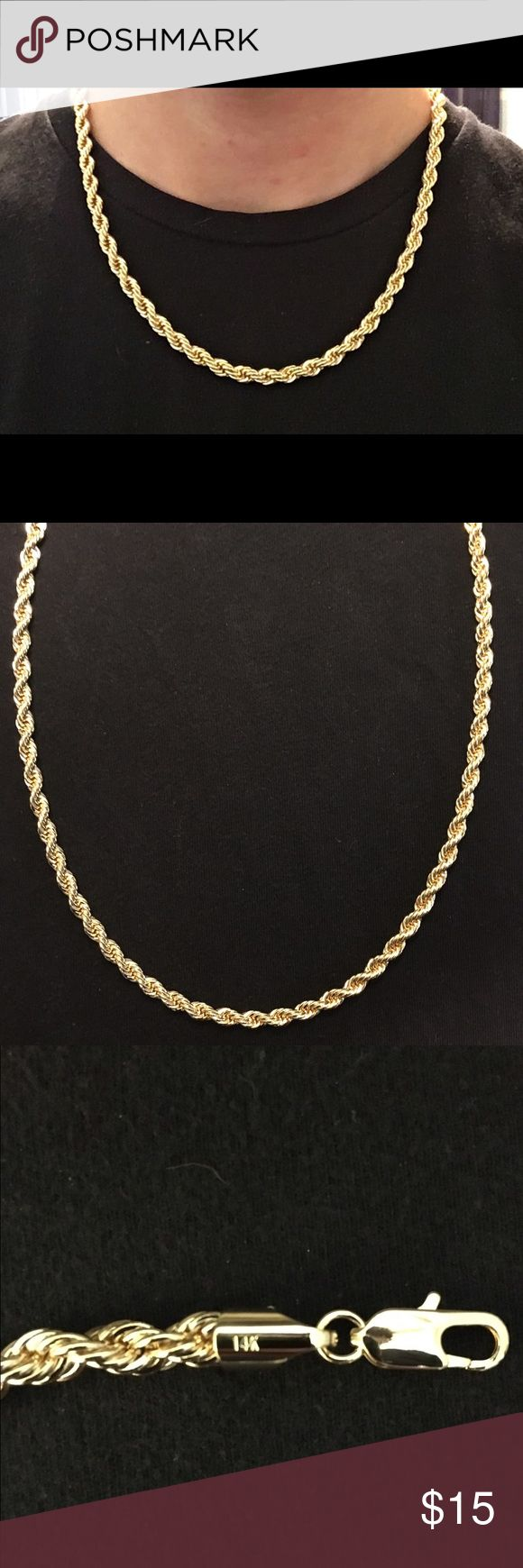 Gold chain 14k gold rope chain 20in 6mm WAS $26 NOW $16 FOR LIMITED TIME!                    Limited Quantity. Get yours Now! High quality 14k gold filled Rope chain Chain is: Stamped 14k • 6mm  • 20in • Gold filled with real 14k gold. Gold filled is a thick layer of real gold. It is more valuable then plating and does not fade away or tarnish like plating. • High quality and durable.  Has good weight to it. • Packaged well and handled with care. • Shipped within the same or 1 day  •…