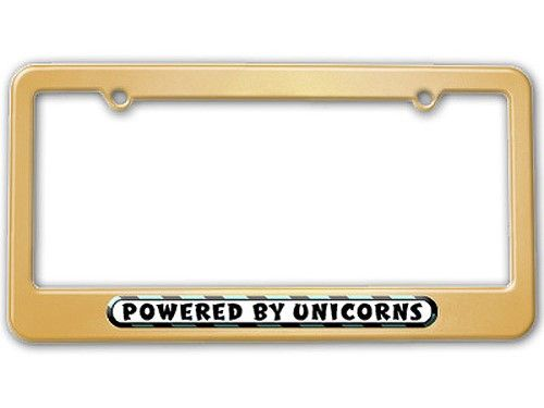 Powered By Unicorns License Plate Frame, Gold