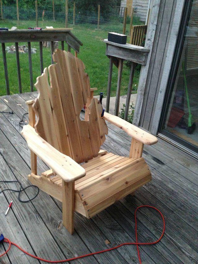 DIY MichiganShaped Back Cedar Adirondack Chair Diy