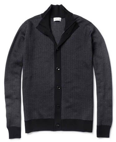Mixing two contrasting fabrics yields a tough — but still soft! — layer that's fit for anything this season. Herringbone wool and silk-blend cardigan ($1,560) by Brioni, mrporter.com   - Esquire.com