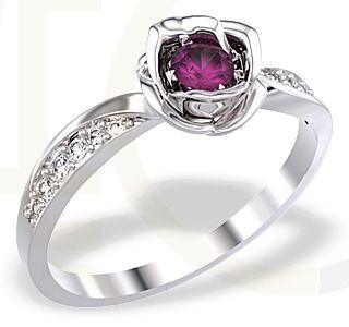 Pierścionek z białego złota z rubinem i diamentami/ Ring made from white gold with diamonds and ruby  #ring #jewellery #diamonds #whitegold #withlove #beauty
