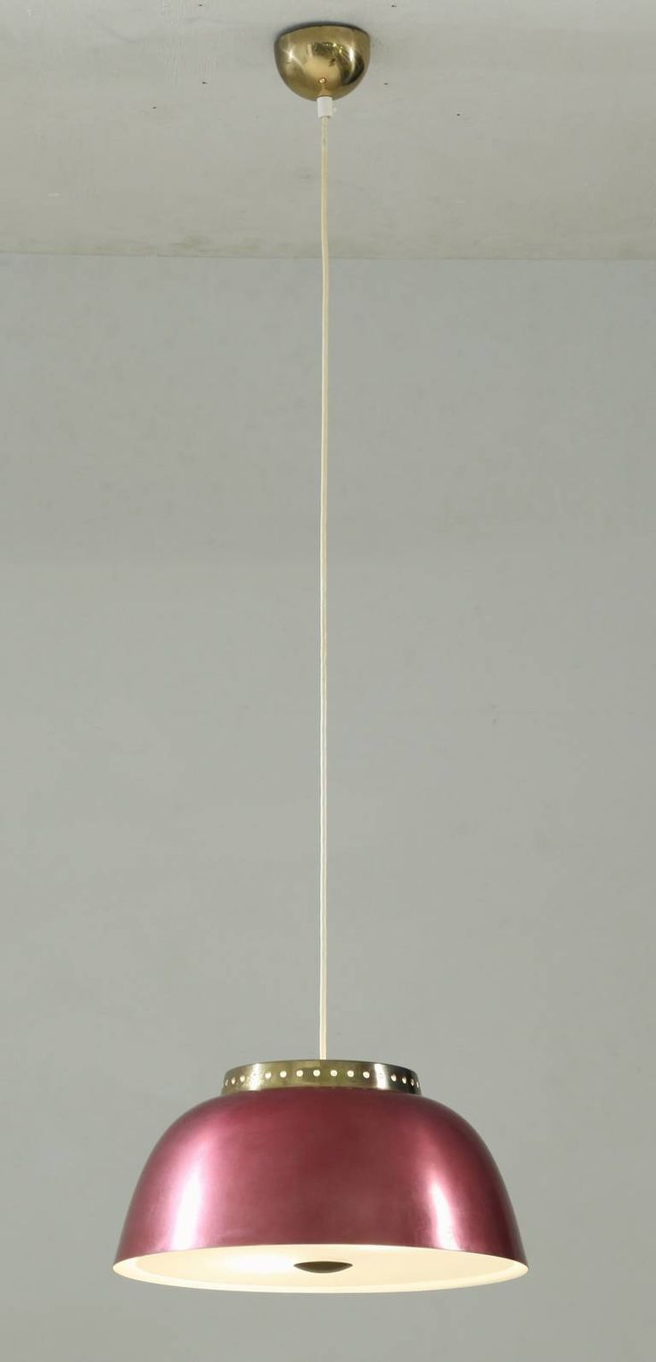 Lisa Johansson-Pape; Anodized Metal, Brass and Glass Ceiling light, 1950s.