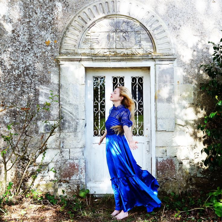 Princesse, jeune fille, robe bleu, portrait