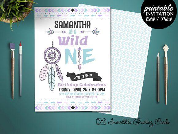 Wild One Boho Birthday Invitation by Incredible Prints on @creativemarket