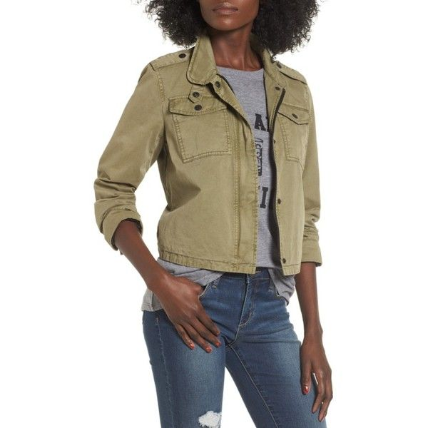 Women's Levi's Crop Military Jacket ($70) ❤ liked on Polyvore featuring outerwear, jackets, garden green, military style jacket, field jacket, army green jacket, cropped jacket and layered jacket