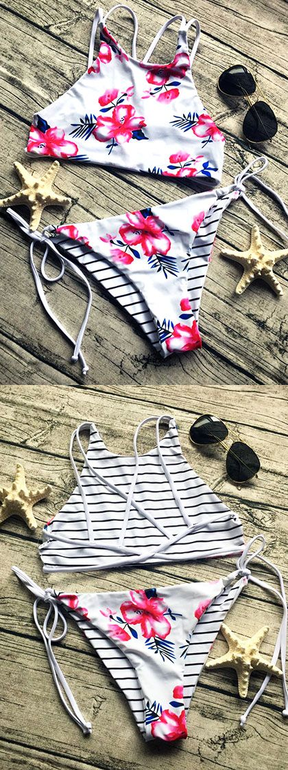 Reversible Floral & Striped Strappy Back Bikini Suit