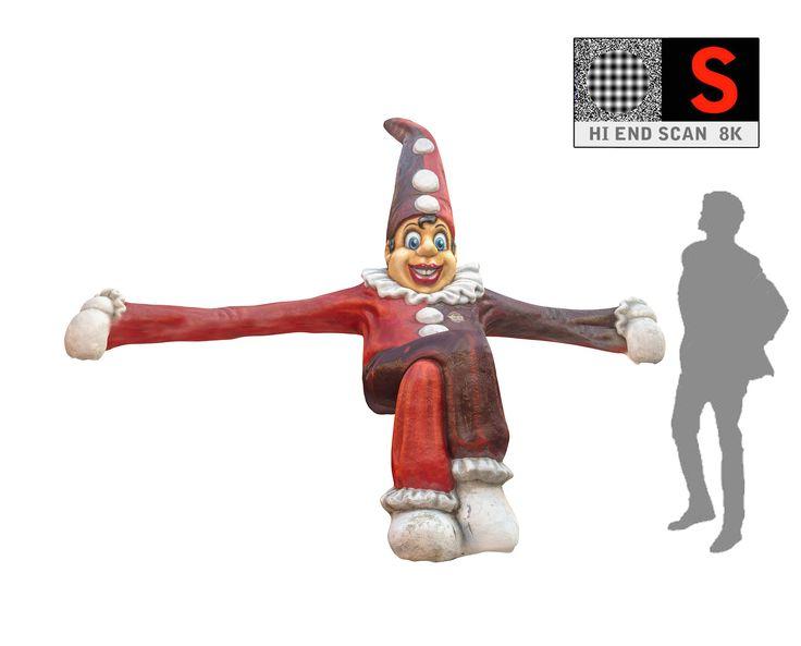 3d model clown statue lunapark 8k