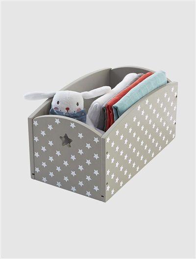 Caja para almacejane de accesorios del bebé, estampada MARRON GRISACEO/ESTRELLAS