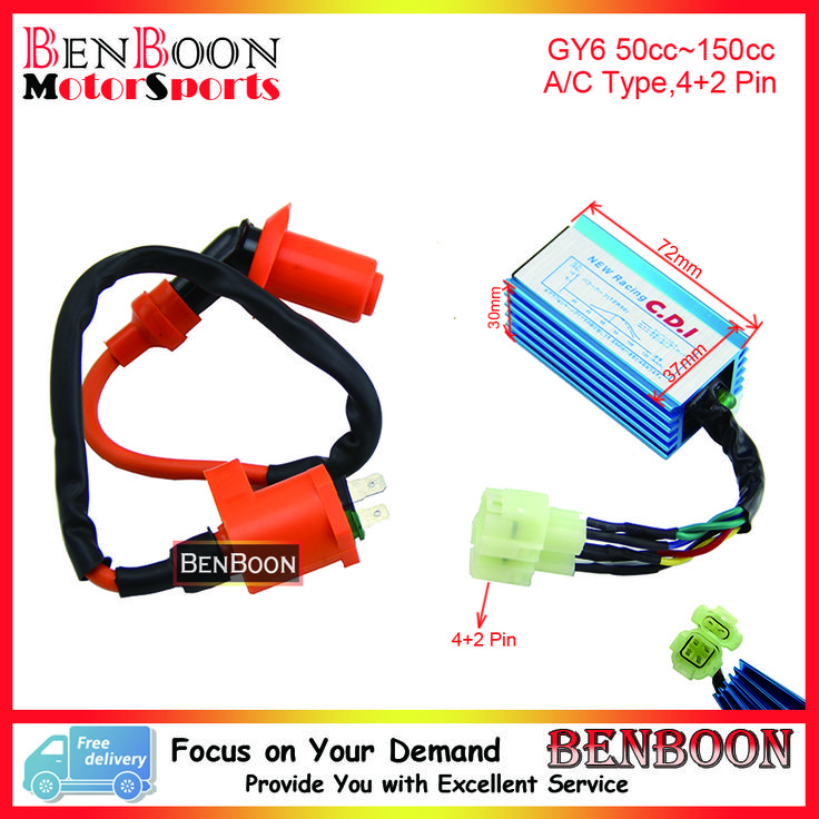 GY6 50cc 150cc Engine Parts Performance CDI BOX and Ignition Coil Chinese Scooter Parts ATV Parts Roketa Znen Baja Free Shipping