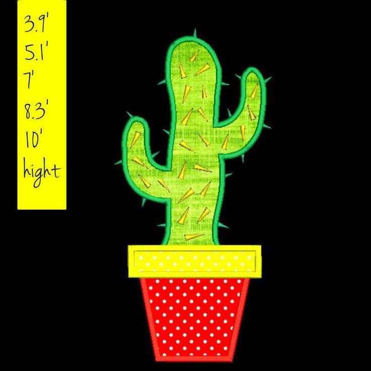 Cactus aplique embroidery design digital download by GretaembroideryShop on Etsy