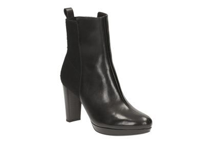 Clarks Kendra Porter, Black Leather, Womens Smart Boots
