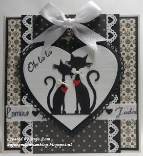 Anja Zom kaartenblog - love the layout of this card, and those awesome kitties