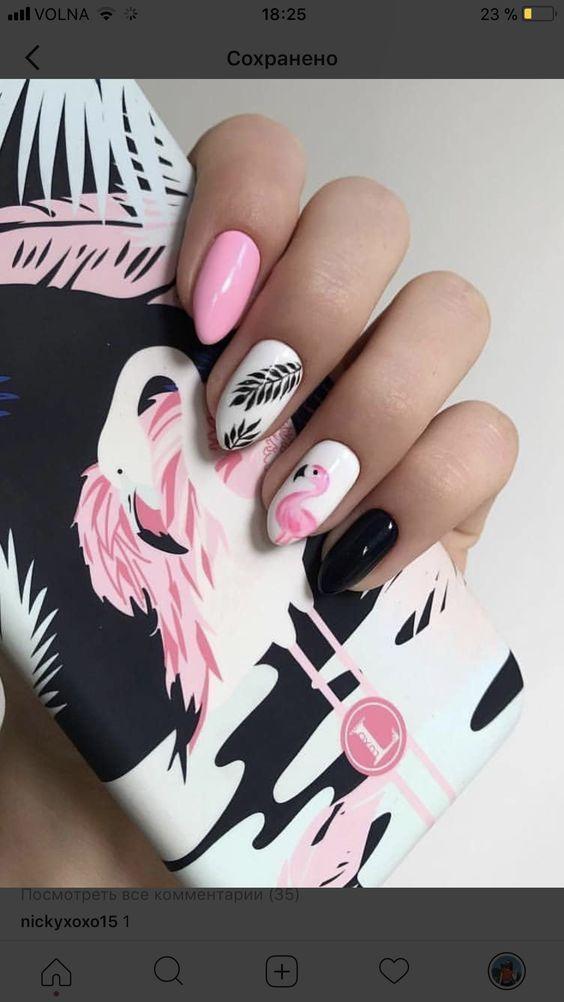 rosa Flamingo-Nägel; Ananas- und Flamingo-Nägel; Flamingos Frühling Sommer Na