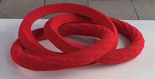 """LARGE INTERLACING-R, Keiji Nio, nylon fiber, 17.75"""" x 63"""" x 63"""", 45 x 160 x 160cm, 2004"""