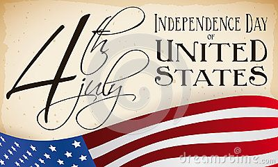 Patriotic banner with U.S.A. flag and a handwritten scroll with Independence Day date.