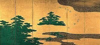 Beach and pine trees. Kaiho Yusho. 1605. Left of a pair of Japanese folding screens. Hamamatsu Byobu.