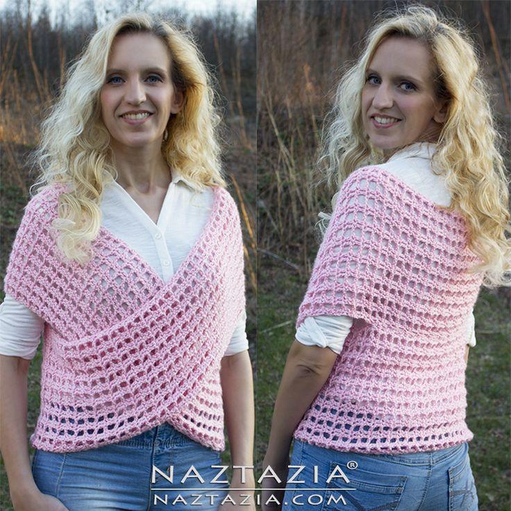 DIY Patroon en YouTube Video Tutorial Crochet Criss Cross Wrap Trui Vest door Donna Wolfe van Naztazia