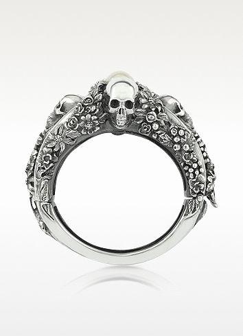 Ugo Cacciatori  Light Pearl Foliage & Skulls Sterling Silver Bracelet