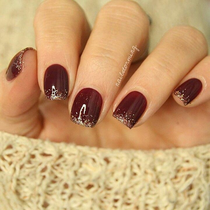 Burgundy nails with Glitter Tips. Cute for the holidays!