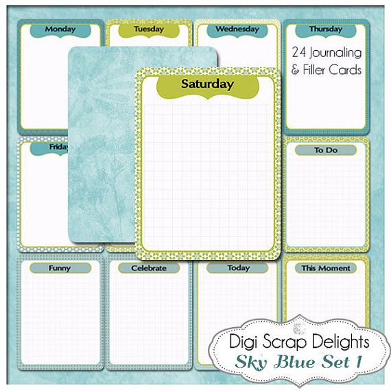 Sky Blue Journal Cards  24 Project Life Style by DigiScrapDelights