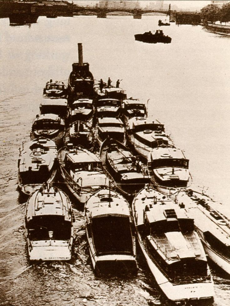 The little ships of Dunkirk, 1940. Operation Dynamo was the largest scale seaborne rescue operation of its time: in the course of nine days, over 300,000 troops were safely evacuated from their position on the beach where they had been forced to retreat by German forces.