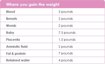 Where you gain weight while pregnant.