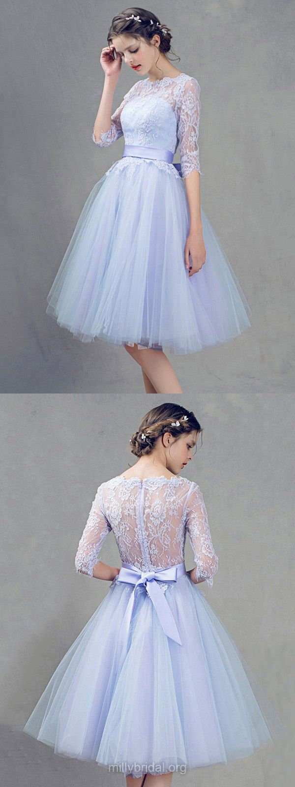 Blue Bridesmaid Dresses Short, Princess Bridesmaid Dresses 2018, Cheap Bridesmaid Dresses Lace, Scoop Neck Bridesmaid Dresses Tulle Knee-length with Sashes / Ribbons