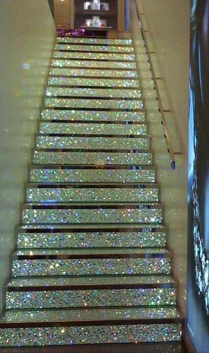 add some glitz and glamour to your home with a diamante encrusted staircase... #interior #stairs