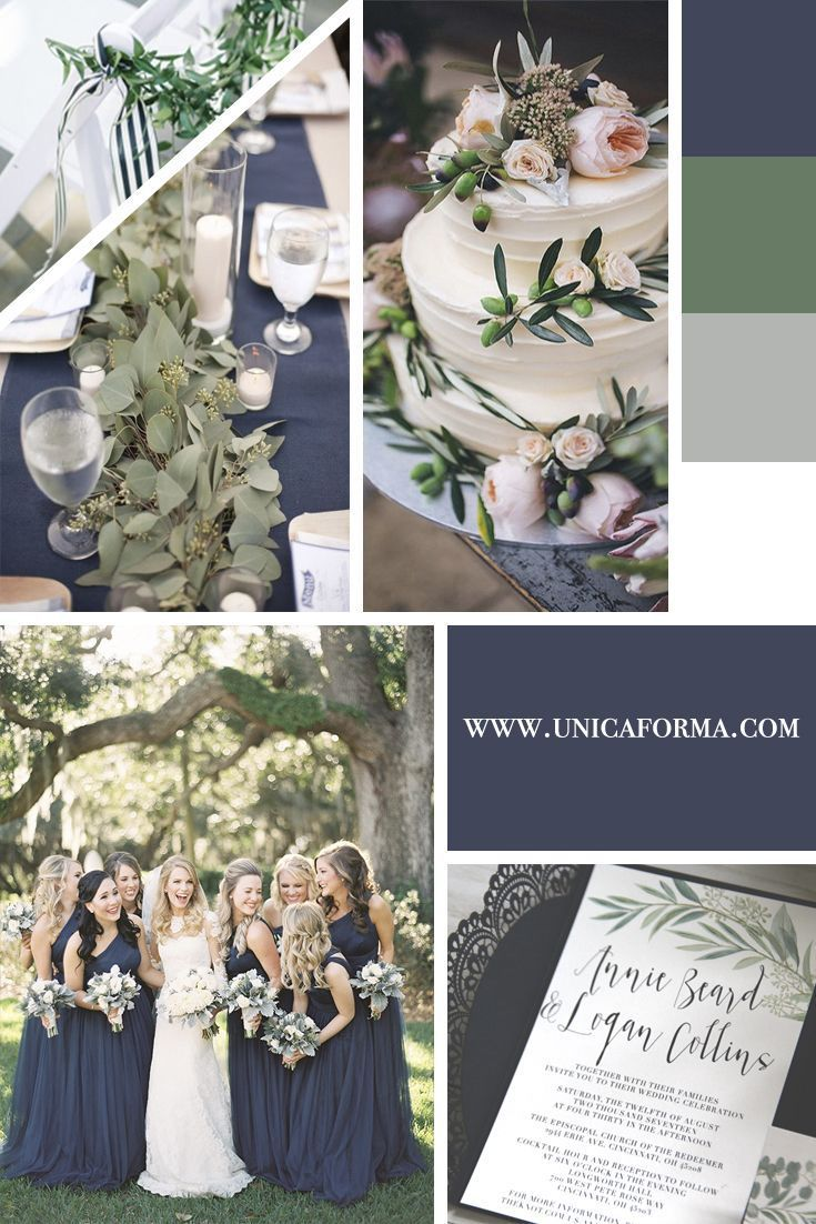 Marine and green make an elegant and modern wedding color palette