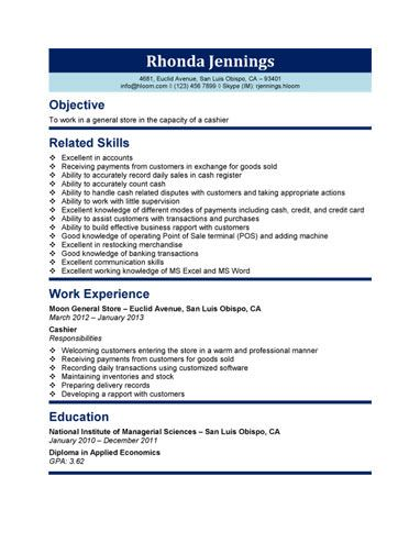 461 best Resume Templates and Samples images on Pinterest Free - cashier description for resume