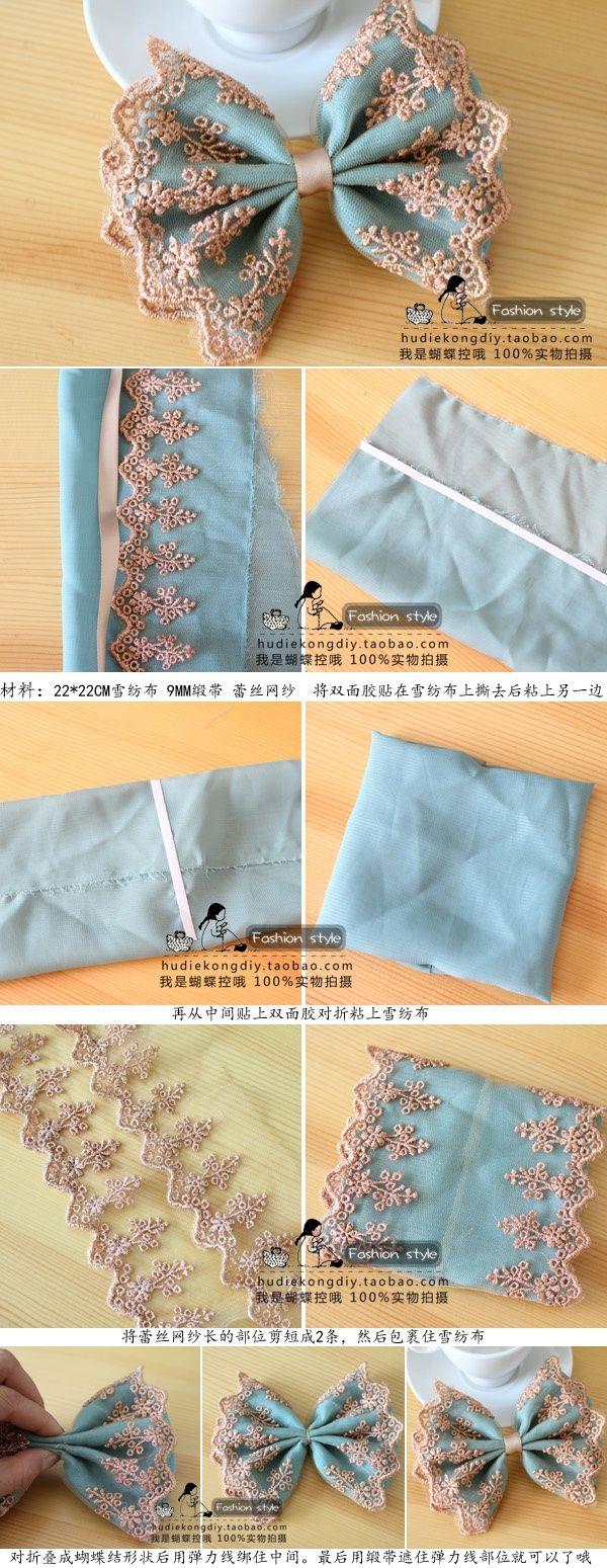 cool pretty & girly lace bow diy tutorial Check more at http://www.diywebguru.com/pretty-girly-lace-bow-diy-tutorial.html