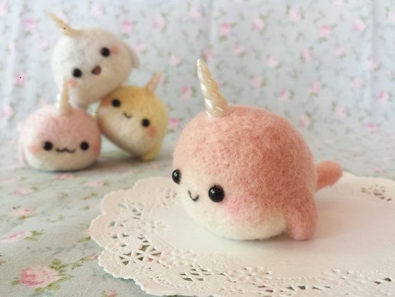 ♥ 100% Handmade ♥ Needle felted Kawaii Narwhal.. She stands roughly 6cm tall . Her body is made from 100% high quality Merino wool. please be advised