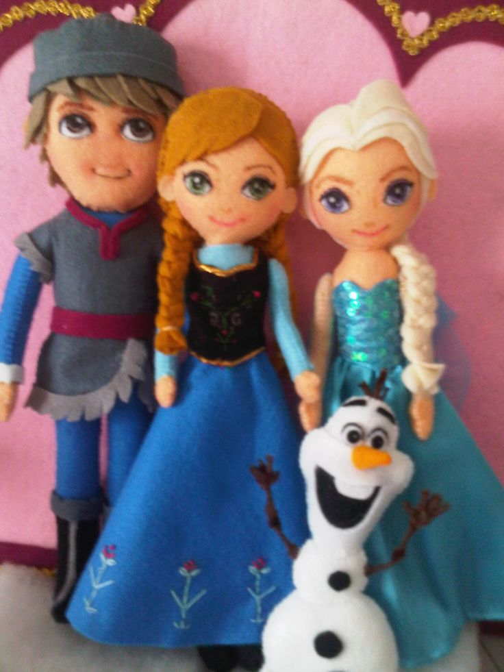 ||| doll, plush, fabric, felt, girl, princess, Queen, snowman, Kristoff, Anna, Elsa, Olaf, Disney, Frozen