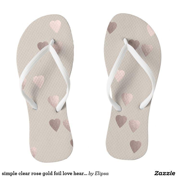simple clear rose gold foil love hearts, neutral flip flops