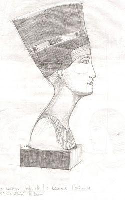 história em desenho: Busto de Nefertiti :: Museu de Berlim