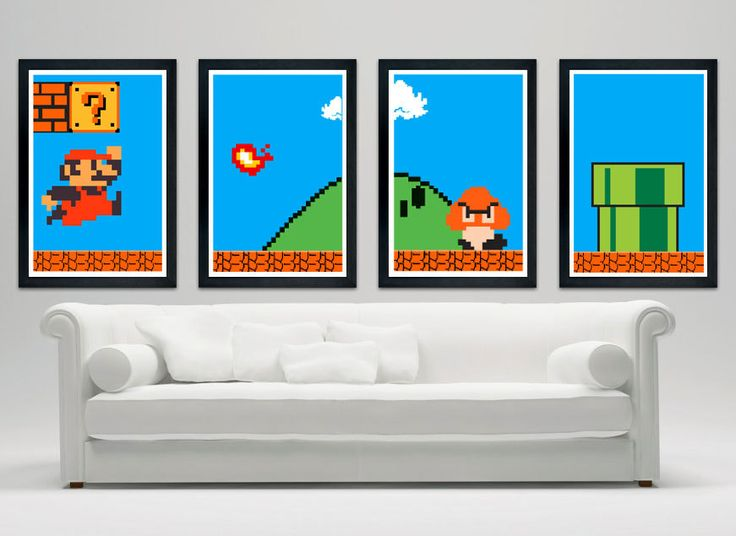 Super Mario Custom Poster Set: a set of 4 posters of the classic 8-bit game!