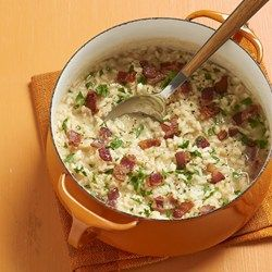 Bacon Risotto - Allrecipes.com I made this recipe but substituted 1/2 cup Chardonnay for some of the chicken broth. Added a bit of Truffle Salt instead of table salt. Topped with some lobster tail. So delicious!