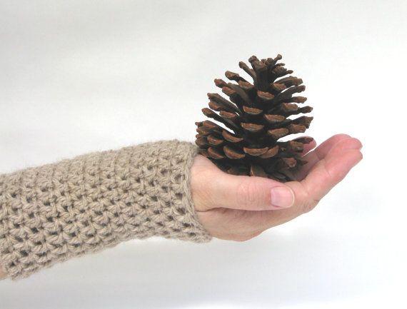 Crochet Wrist Warmers Fingerless Gloves Arm by AGirlNamedMariaDK #wrist #arm #warmer #warmers #glove #gloves #fingerless #mitten #mittens #mitts #beige #wool #alpaca #crochet #crocheted #chunky #warm