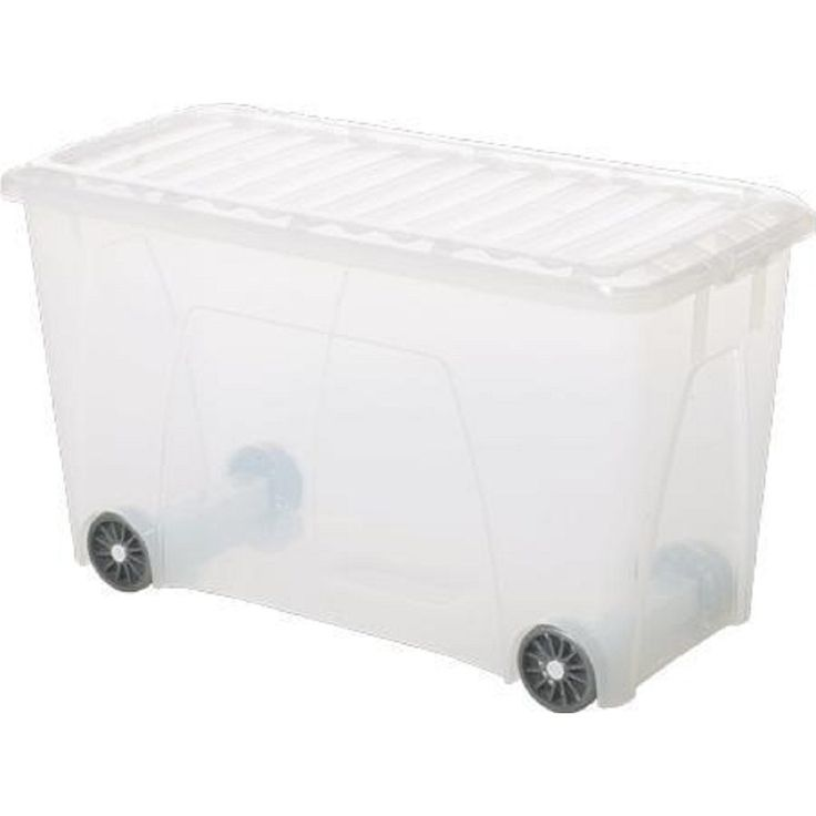 115lt Nice Plastic Storage Box With Wheels and Clear/Frosted Lid (Pack of 12)