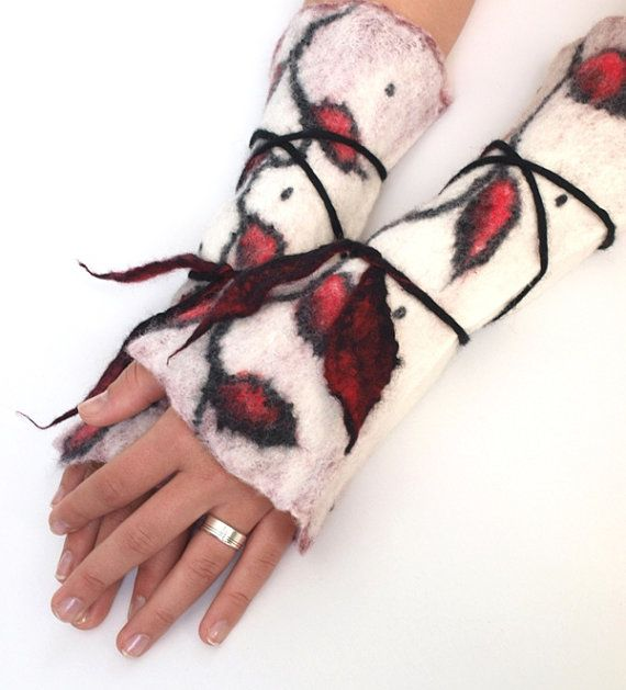 Red Leaves felted cuffs wrist warmers by ArtMode on Etsy, $43.00