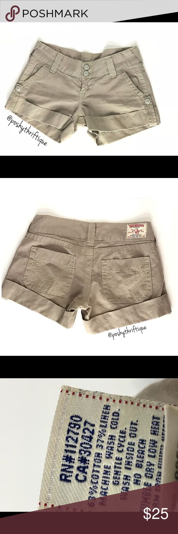 """True Religion Womens Shorts Sammy Fitted 29 SIZE: 29 STYLE: relaxed / casual  BRAND: True Religion MATERIAL: 63% Cotton 37% linen  COLOR: camel  MEASUREMENTS:  Length :Approx 14"""" Waist : Approx 32"""" CONDITION : Great Pre Loved Condition  COUNTRY OF MANUFACTURER : USA SMOKE FREE & PET FREE ENVIRONMENT True Religion Shorts"""