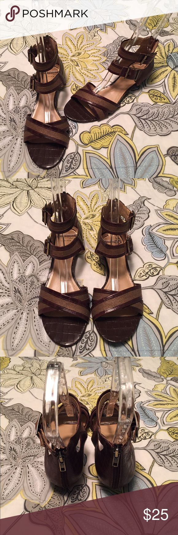 "Circa Joan & David Luxe ""CJQuant"" Brown Sandal - 7 Like new Circa Joan & David Luxe ""CJQuant"" Brown Sandal.  Pebbled leather upper with metallic trim. Synthetic sole.  Worn several times but in mint condition.  No scratches or tears.  Heel height 1 1/2"". 12.   ✅ Bundle & Save ✅ Open to offers 🚫 No lowball offers 🚫 No trades Circa Joan & David  Shoes Sandals"