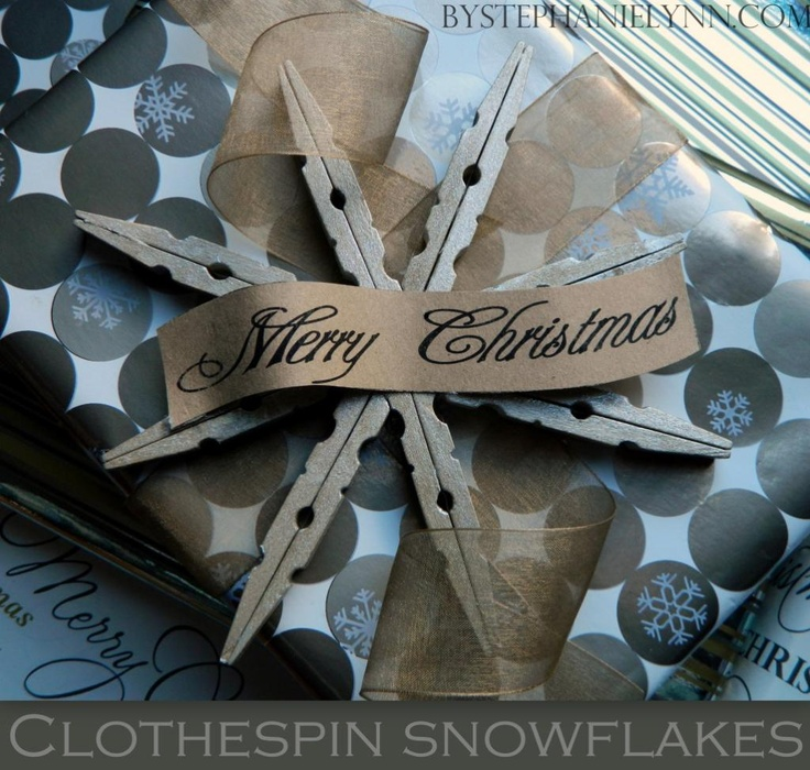 Clothespin Snowflake...add bling to the center with old buttons or jewels on both sides for tree ornaments.