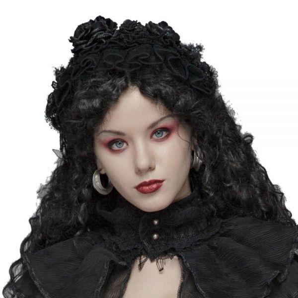Gothic Lolita Haarband mit Rosenblüten und Spitze