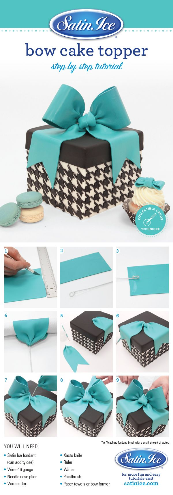 DIY fondant bow to top off your next cake by Satin Ice!