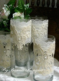 Cover with lace....These could be done for the Head Table or the Bride & Groom Table